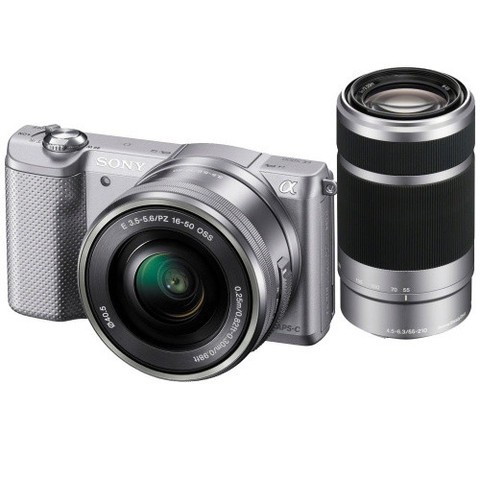 Sony Alpha 5000 a5000 ILCE-5000Y Kit SEL-P 16-50mm + SEL 55-210mm Silver (Menù Inglese)
