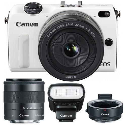 Canon EOS M2 Bianca + M18-55 IS STM + M22 STM + EF-EOS M + 90EX