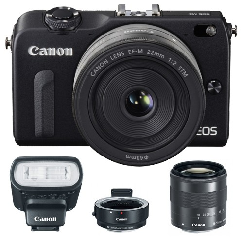 Canon EOS M2 Nera + M18-55 IS STM + M22 STM + EF-EOS M + 90EX