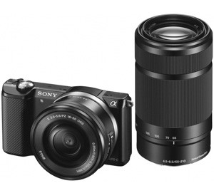 Sony Alpha 5000 a5000 ILCE-5000Y Kit SEL-P 16-50mm + SEL 55-210mm Black (Menù Inglese)