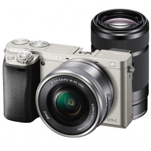 Fotocamera Mirrorless Sony A6000 ILCE-6000Y Kit SEL-P 16-50mm + SEL 55-210mm Silver