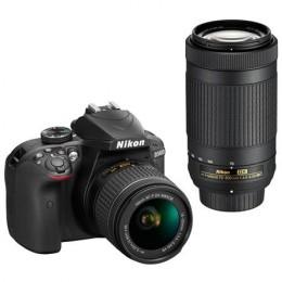 Fotocamera Digitale Reflex Nikon D3400 Kit 18-55mm AF-P + AF-P 70-300mm VR Black