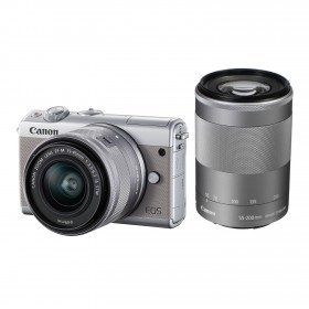 Fotocamera Mirrorless Canon EOS M100 Kit 15-45mm 55-200mm Grey