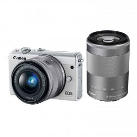 Fotocamera Mirrorless Canon EOS M100 Kit 15-45mm 55-200mm White
