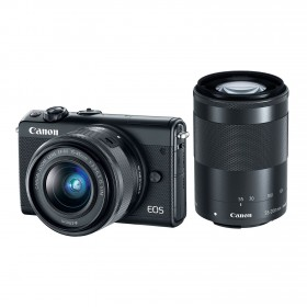 Fotocamera Mirrorless Canon EOS M100 Kit 15-45mm 55-200mm Black