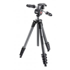Manfrotto Treppiede Compact Advanced Testa 3 Vie Nero Alluminio Leva MKCOMPACTADV-BK