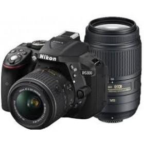 Fotocamera Digitale Reflex Nikon D5300 Kit 18-55mm AF-P + 55-300mm VR Black