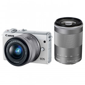 Fotocamera Mirrorless Canon EOS M200 Bianco + 15-45mm IS STM + 55-200mm IS STM Silver