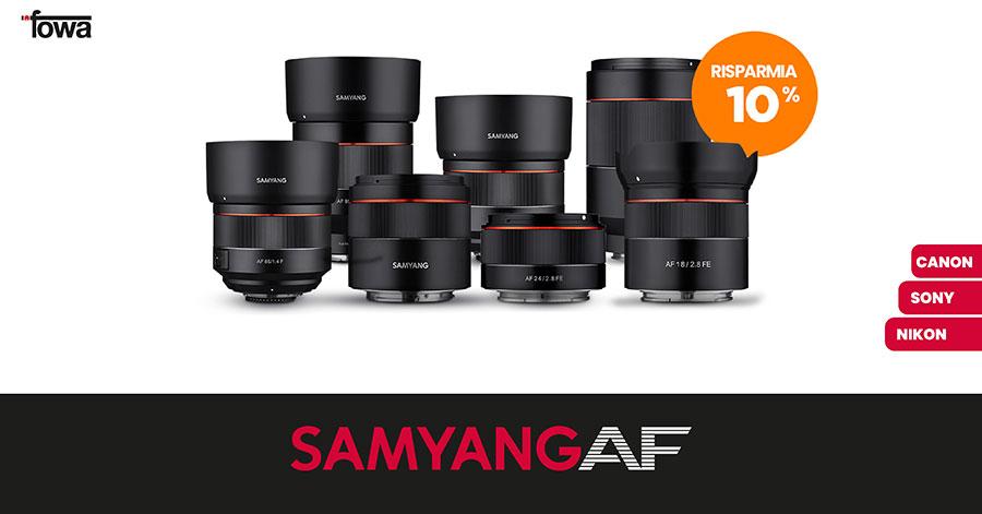 promozione Samyang sconto obiettivi autofocus ottiche Samyang per Sony Nikon Canon solodigitali roma