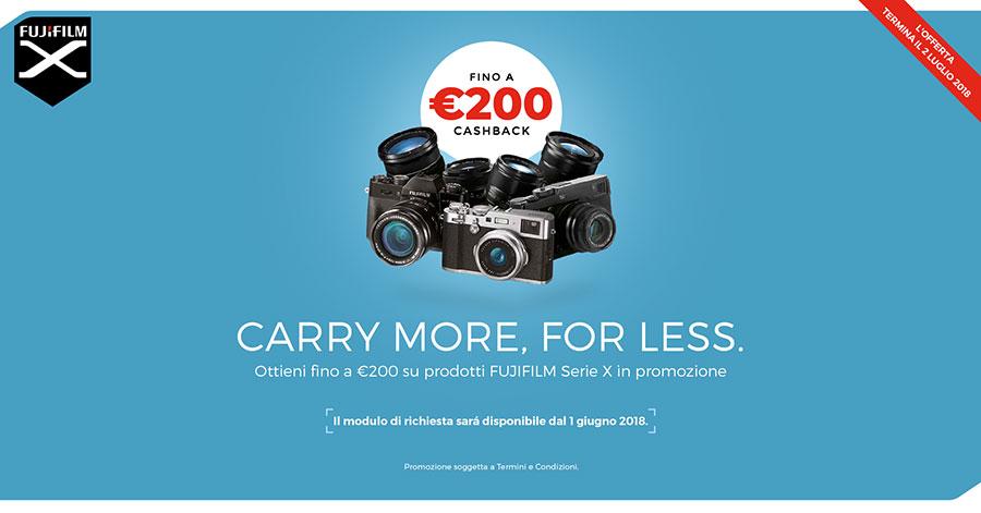 cashback promozione fujifilm offerta fotocamere obiettivi giugno